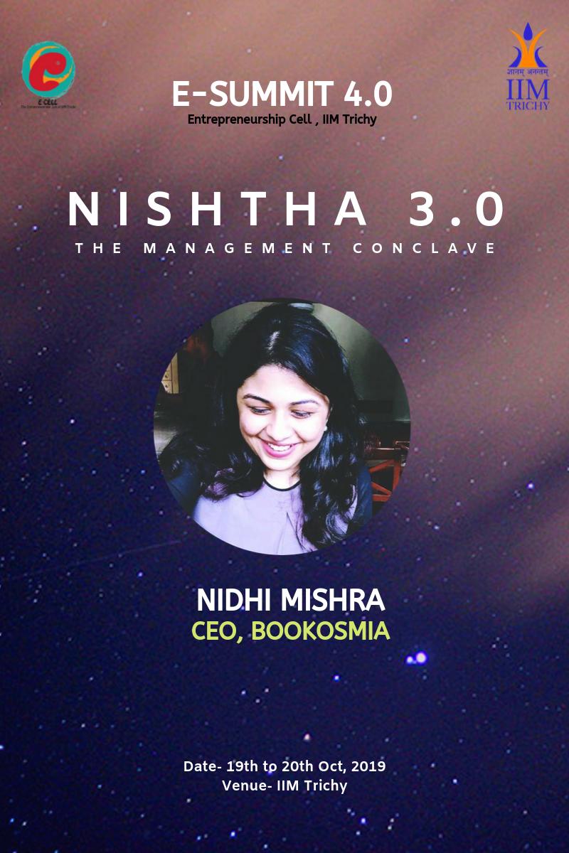 Bookosmia Founder, Nidhi takes the company's story to IIM Trichy, as Keynote Speaker at their Entrepreneurship Fest