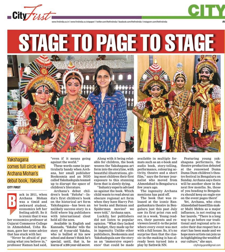 """Bookosmia's """"Yaksha is a classic in the making"""" says First India newspaper."""