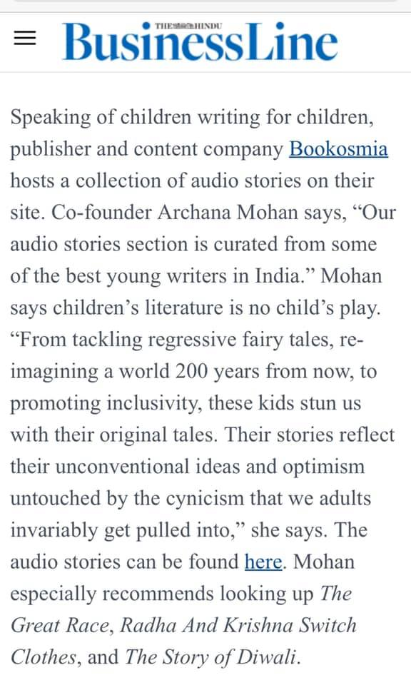 Excited to be alongside the legendary Amar Chitra Katha and Pratham, for curating brilliant Indian stories for children, by The Hindu Business Line