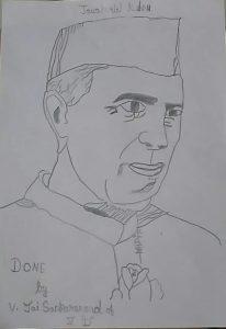 Nehru portrait Art with Sara Bookosmia
