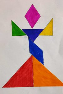 Girl Tangram activities with Sara for kids, by kids Bookosmia