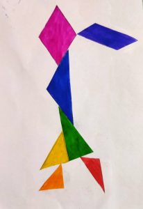 Girl Tangram story activities for kids with Sara by Bookosmia