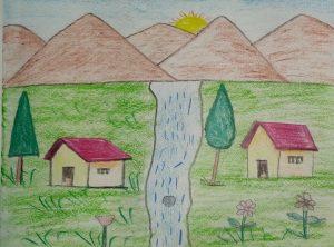 Art with Sara landscape by kids Bookosmia