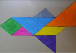 aeroplane tangram with Sara stories for kids by kids Bookosmia
