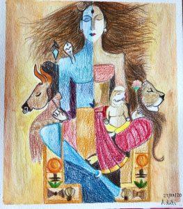 Ardhanarishwar Durga Shiv Art with Sara by Aditi UK Bookosmia