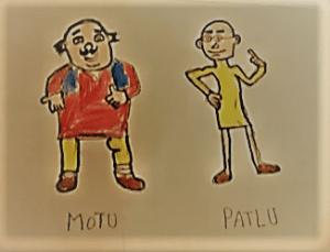 Motu Patlu art by kids with Sara Bookosmia