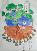 Earth drawing by kids with Sara Bookosmia
