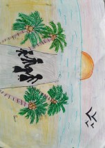 Family at the beach painting Art with Sara Bookosmia