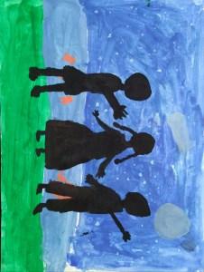 Night sky art by kids with Sara Bookosmia