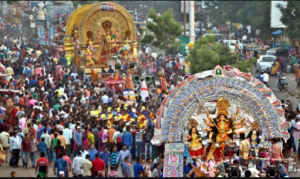 Durga Pooja procession festivals with Sara Bookosmia