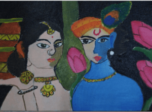 radha krishna artwork by kids with Sara Bookosmia