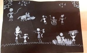 Warli Art by kids with Sara Bookosmia