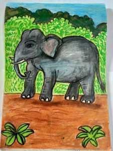 Elephant art by kids with Sara Bookosmia