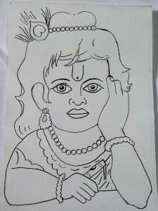 Little Krishna art by kids with Sara Bookosmia