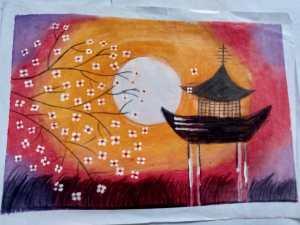 Art by kids with Sara oil pastels Chennai Bookosmia