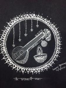 Saraswati Pooja doodle Art with Sara by Saanvi Kolkata Bookosmia