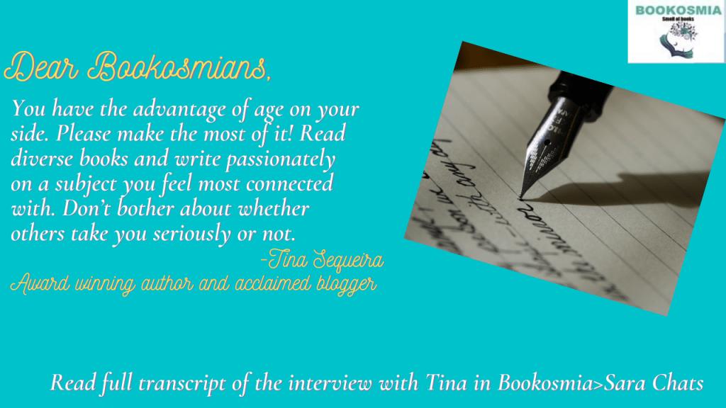 Message for Bookosmians from Tina Sequeira