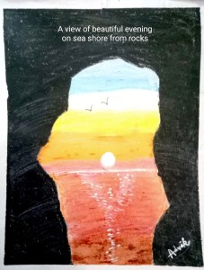 Nature Art - Sunsets, rocks and the blue ocean