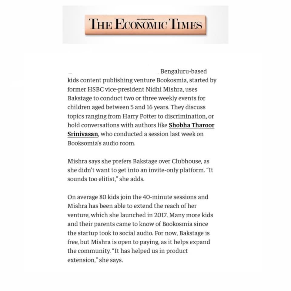 Bookosmia's Audio Rooms Featured in Economic Times