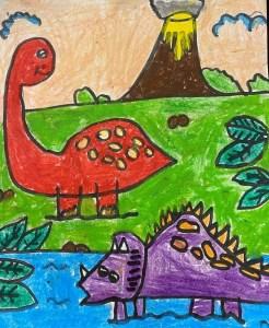 Drawing for kids - Dinosaur crayon art