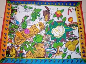 Madhubani art - Painting vegetables grown in India